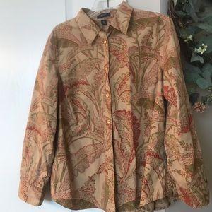 Chaps long sleeve multi color leaf print shirt